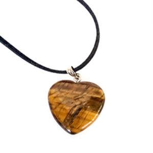 Тигрово око, медальон, естествен камък, сърце