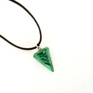 Малахит, медальон,  шестоъгълна пирамида