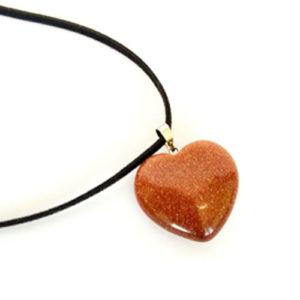 Слънчев камък, медальон, Слънчев камък, жълт (пясъчен авантюрин), сърце