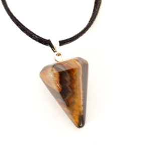 Тигрово око, медальон, естествен камък, шестоъгълна пирамида