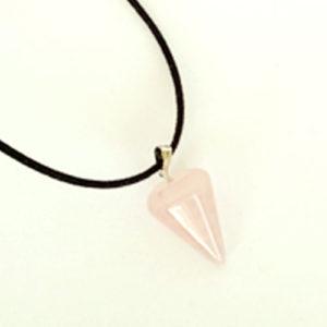 Розов кварц, медальон, естествен камък, шестоъгълна пирамида