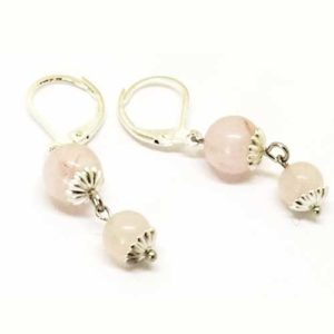 любовта на Венера, обеци от естествени камъни, Розов кварц