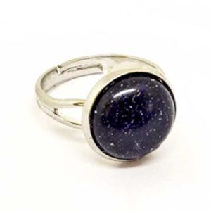 Слънчев камък, син, регулируем пръстен, естествен камък 10 или 12мм.