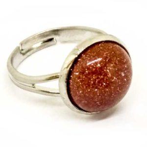 Слънчев камък, жълт, регулируем пръстен, естествен камък, кръгъл 12 мм.