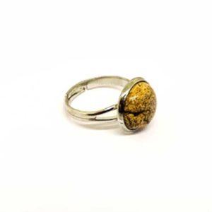 Яспис, червен регулируем пръстен, естествен камък, кръгъл 12 мм.