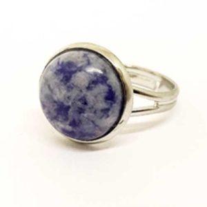 Содалит, регулируем пръстен, естествен камък, кръгъл 12 мм.