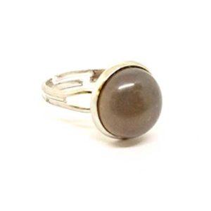 Опушен кварц, регулируем пръстен, естествен камък, кръгъл 12 мм.