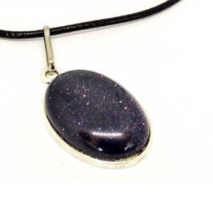 Слънчев камък, син, медальон, кабошон, 18х25 мм.