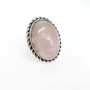 пръстен Мистична романтика, Розов кварц, камък 18х25 мм.