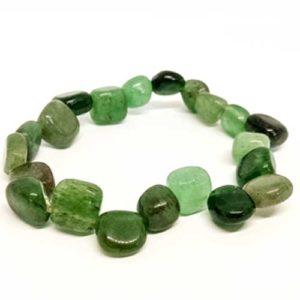 Авантюрин, зелен, гривна от естествени камъни, несиметрични мъниста