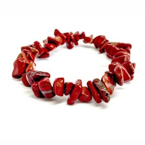 Яспис, червен, гривна от естествени камъни, чипс ситен, 5-7мм.