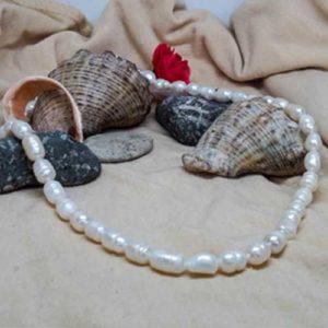 Йемания, гердан, естествена Перла, 8х6мм, бяла, 42см.