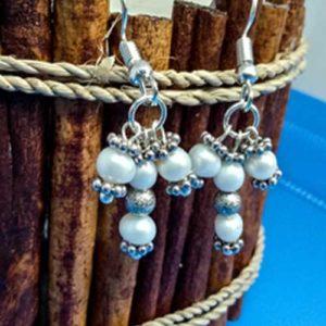 Фриг, ръчно изработени обеци, перла, естествена, 4~5.5мм бяла