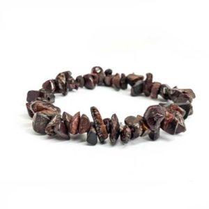 Яспис, тъмно кафяв (бронзит), ръчно изработена гривна, чипс, ситен, 5-7мм.
