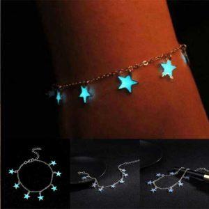 Звездичка, гривна за глезен, със светещи звездички