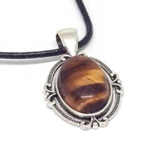 Тигрово око, ръчно изработен медальон, естествен камък, овал с обков
