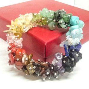 Дъга, ръчно изработена, луксозна гривна с 18 вида естествени камъчета