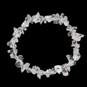 Планински кристал, гривна от естествен камък тип чипс, ситен 5-7 мм.