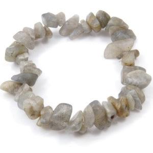 Лабрадорит, гривна от естествен камък, чипс ситен, 5-7мм.