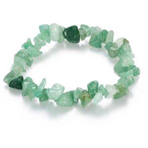 Авантюрин, зелен, гривна от естествен камък, чипс ситен, 5-7мм.