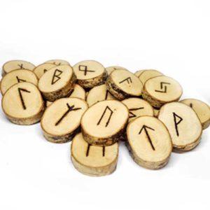 Ръчно изработен комплект дървени Руни, Бреза