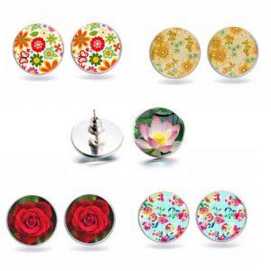 Цветя, обеци с винтче, 10мм. различни варианти