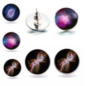 Галактика, обеци с винтче, 12мм. различни варианти
