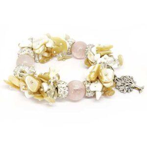 Калипсо, луксозна гривна, седеф, бял ахат, розов кварц, планински кристал