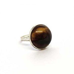 Тигрово око, регулируем пръстен, естествен камък, кръгъл 16 мм.