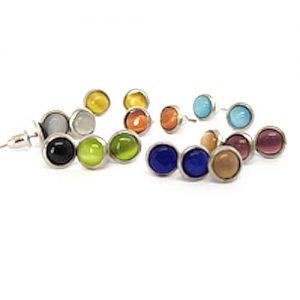 Очарование, мини обеци с винтче и котешко око 6мм., различни цветове