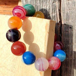 Ахат, ивичест, цветен, ръчно изработена гривна, 14мм. мъниста