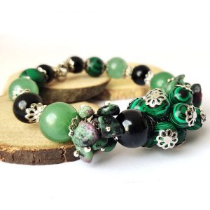 Прелест, дизайнерска гривна, естествени камъни, стомана