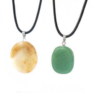Овална висулка естествен камък, Вариант жълт Ахат или Нефрит