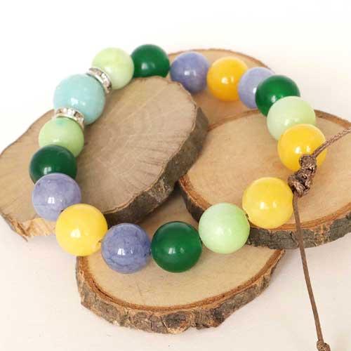 Усмивка и радост, гривна естествен камък, Нефрит, Жадеит, Амазонит